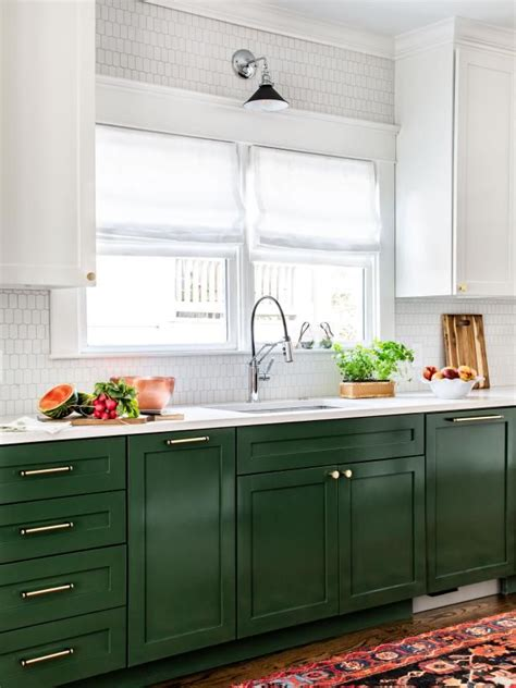colored  cabinets  white uppers green kitchen