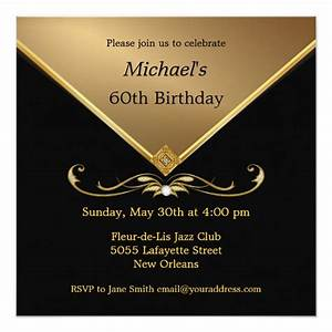 Men, U0026, 39, S, Elegant, Gold, Black, 60th, Brithday, Invitations