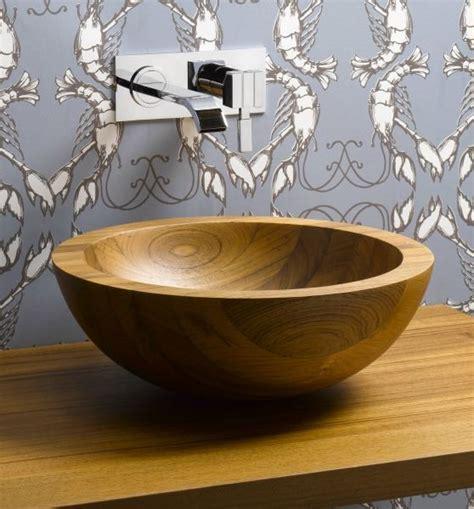 helio basin teak wood vessel sink artisan crafted home