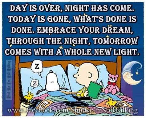 Day Is Over Night Has Come Goodnight Snoopy Quote Pictures