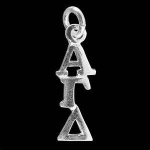 alpha gamma delta 925 sterling greek drop letter With greek letter lavalier necklace