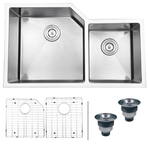 60 40 stainless steel sink ruvati 33 in double bowl 60 40 undermount 16 gauge