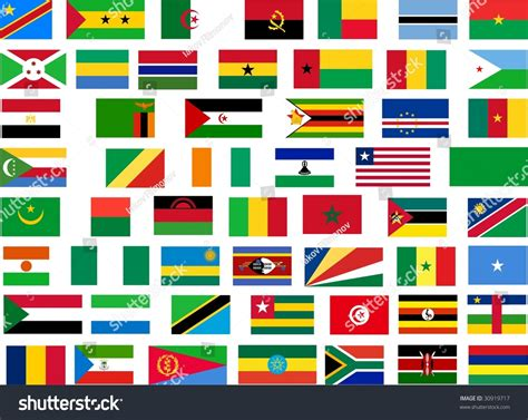 Flags Of All Africa Countries. Illustration Over White