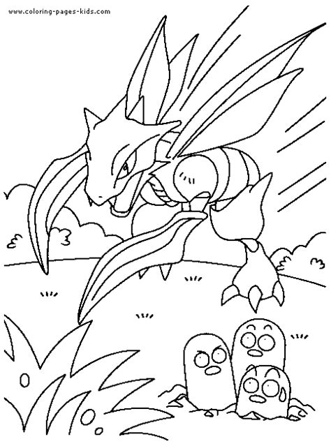 Pokemon color page of Scyther - Pokemon Coloring Pages