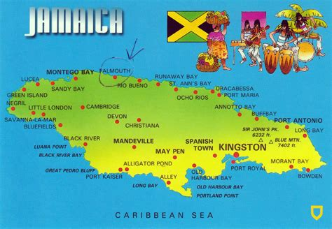 large map  jamaica  cities jamaica north america
