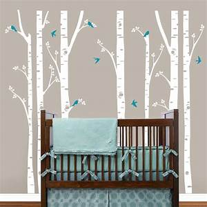 birch trees wall decals tree wall sticker removable white With white birch tree wall decal decorations