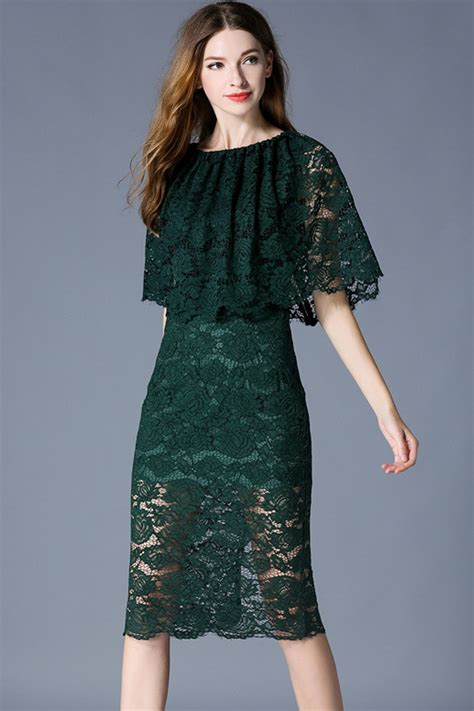 tomcarry women slim fitted pencil lace dress dark green