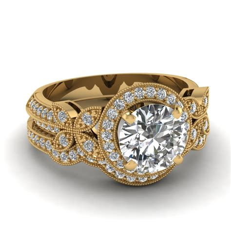 yellow gold white diamond engagement wedding ring in pave fascinating diamonds