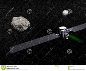 Dawn Spacecraft, Vesta And Ceres - 3D Render Royalty Free ...
