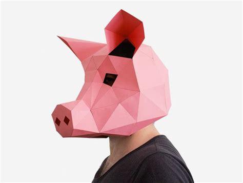 pig mask pig paper craft template diy printable animal