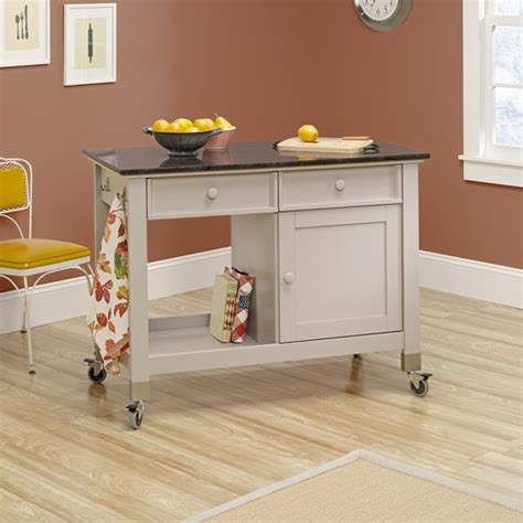 mobile island for kitchen sauder original cottage mobile kitchen island cobblestone 7558