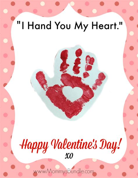 handprint printable quot i you my 579   Valentines Hand Printable Card for Kids