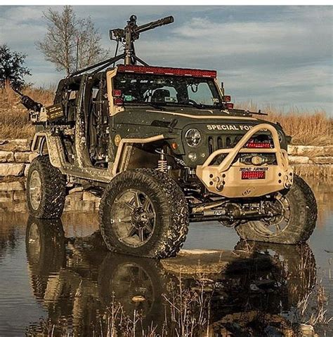 military jeep with gun mean lookng jeep jk with machine gun gun trucks armoured