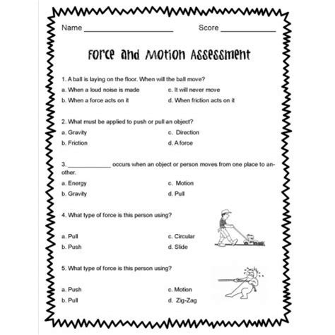 5th grade science forces in motion worksheets for all