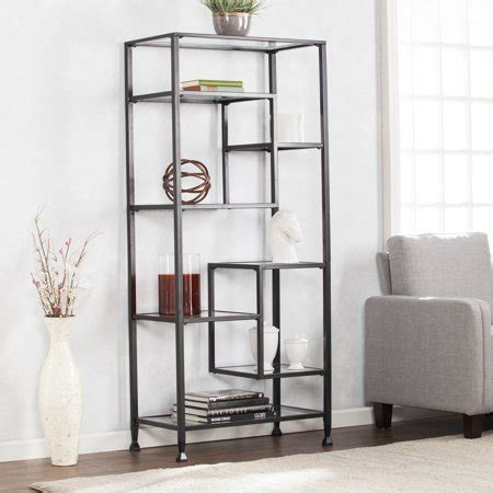 Black Etagere by Blvd Metal Glass Asymmetrical Etagere