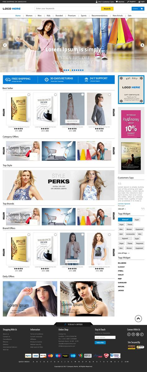 template full widht full width ecommerce website templates free psd download