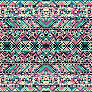 """Pink Turquoise Girly Aztec Andes Tribal Pattern"" by"