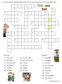 Spanish Verb Crossword Puzzle Worksheet