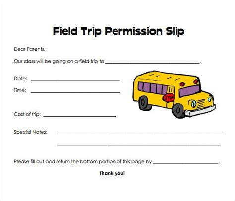 permission slip templates field trip forms teaching