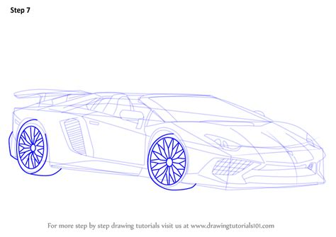 how to draw a lamborghini aventador sv roadster step by step how to draw lamborghini aventador lp750 4 sv roadster drawingtutorials101 com