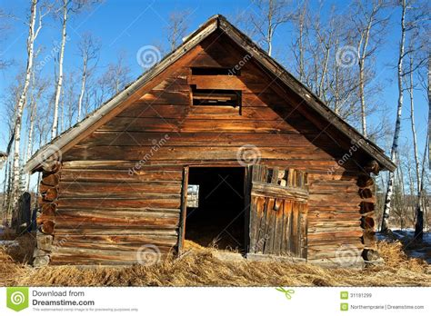 Abandoned Old Wooden Barn In Late Winter Royalty Free