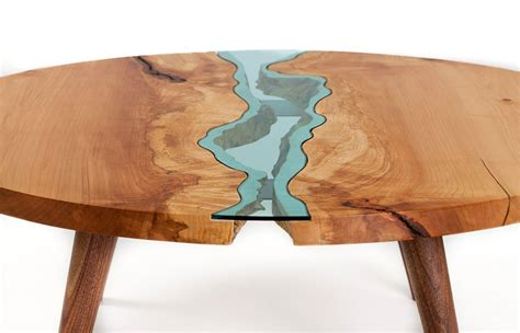 unique wooden tables embedded  glass rivers  lakes
