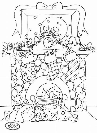 Fireplace Christmas Coloring Dearie Stamps Dolls Digi