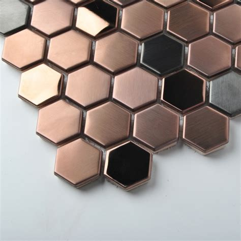 stainless steel tile hexagon stainless steel brushed mosaic tile gold