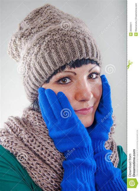 young girl wearing hat  gloves stock image image