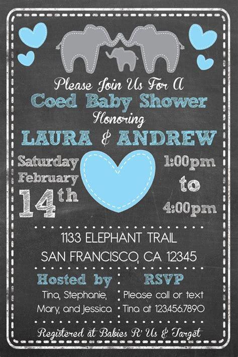 printable elephant theme coed couples baby shower set