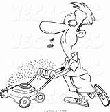 Lawn Mowing Cartoon Coloring Vector Whistling Drawing Grass Cut Mower Cutting Outlined Leishman Pollution Stop Vecto Fresh Count Thread Ron sketch template