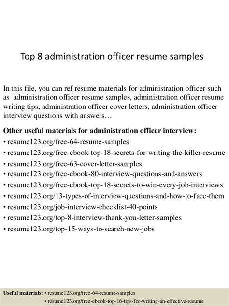 Administration Officer Resumeadministration Officer Resume by Top 8 Administration Officer Resume Sles