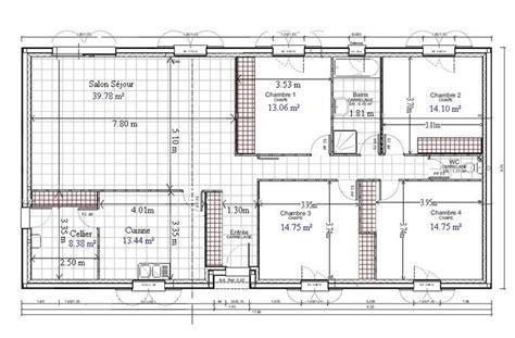 plan de maison 4 chambres plain pied gratuit plan architecture maison 100m2 1 plan de maison plain