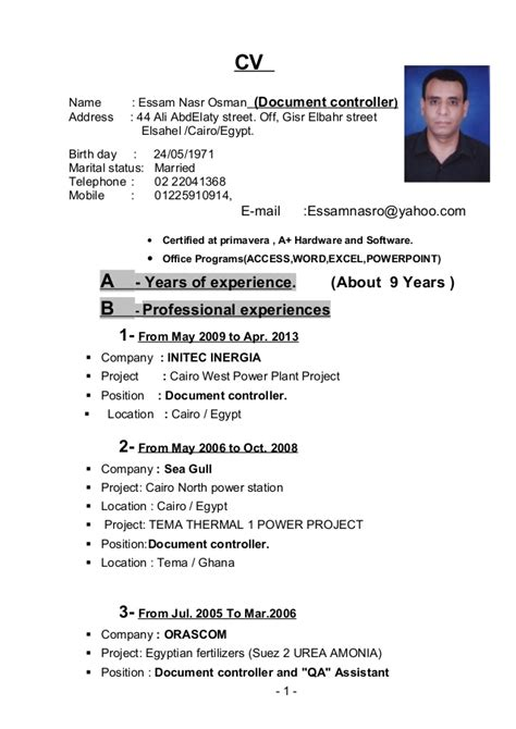What Is Résumé Cv Document by Essam Nasr Cv Document Controller Doc