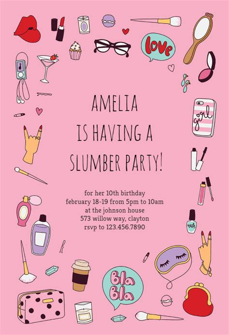 spa party sleepover party invitation template