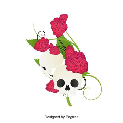 vector hand painted skull  flowers vector hand painted skeleton png transparent clipart