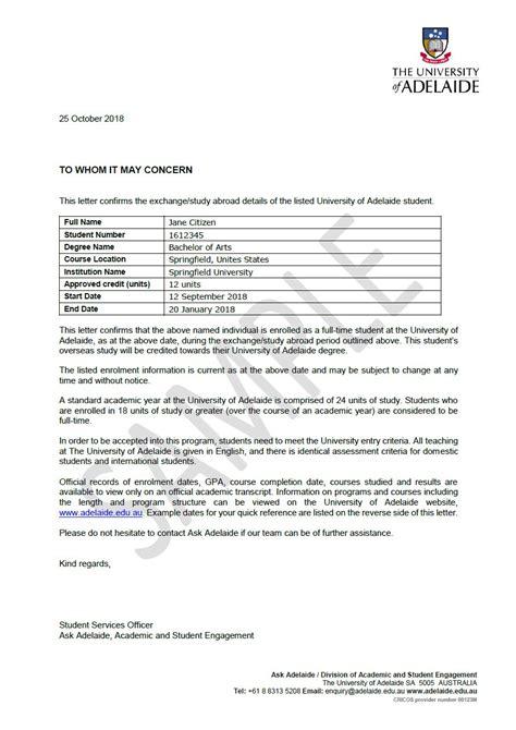 letter request  adelaide university  adelaide
