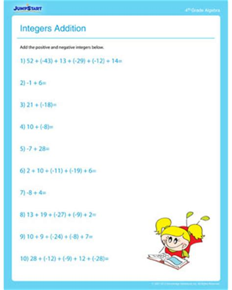 integers addition free algebra worksheet for 4th grade