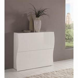 Meuble Blanc Laqué Brillant : rangement chaussures laque blanc ~ Dailycaller-alerts.com Idées de Décoration