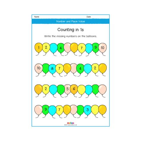 number  place   worksheets maths melloo