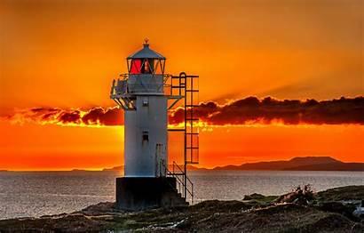 Lighthouse Sunset Landscape Wallpapers Clouds Sea Beach