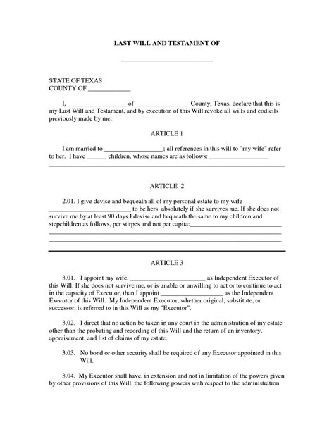 templates for wills free last will testament template