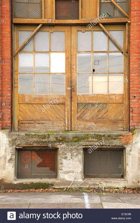 door of portland warehouse building doors in an industrial district in