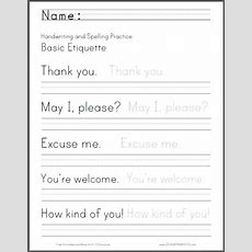 Basic Etiquette Handwriting And Spelling Worksheet  Free To Print (pdf File)  Primary Grades