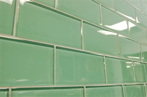 green subway glass tiles modern bathroom other