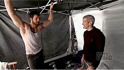 Henry Cavill Working Shirtless Steel Becoming Superman