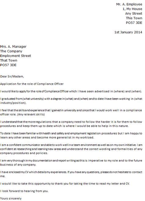 Compliance Officer Cover Letter Example Icoverorguk
