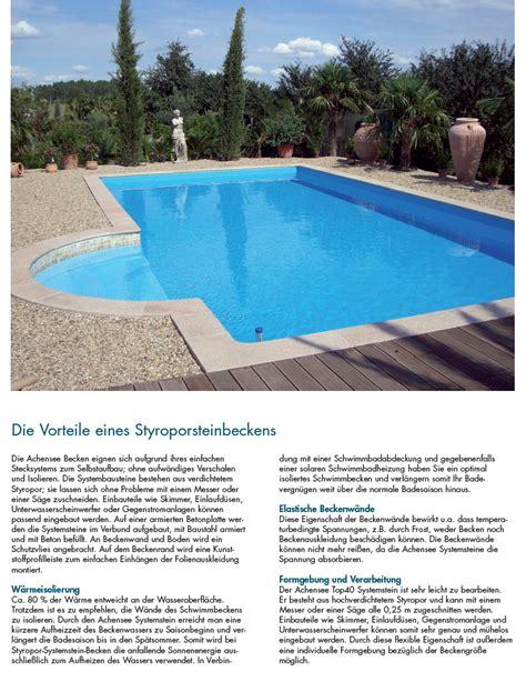 pool bausatz styropor styropor pool als schwimmbecken komplett set mit allem zubeh 246 r