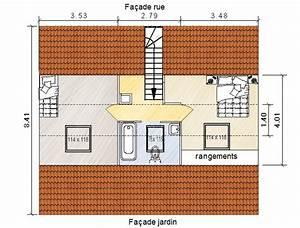 deux chambres sous combles avec salle de bain commune With plan salle de bain sous comble