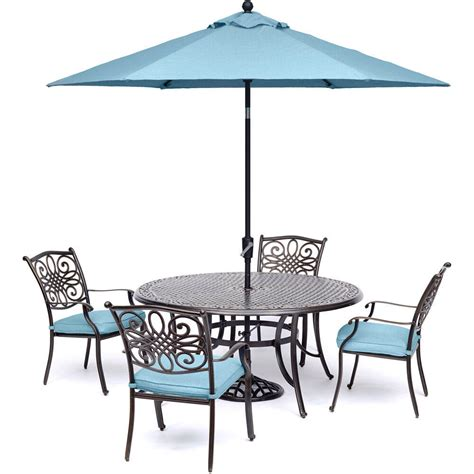 Umbrella And Table Set by Traditions 5 Dining Set In Blue With Table Umbrella